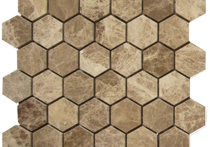 "Light Emperador 2""x2"" Mosaic Hexagon 12""x12"" INCMARBLIEM22MHX"
