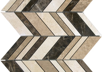 "Natural Blend Mosaic Arrow 12""x12"" INCMARBNABL12MOA"