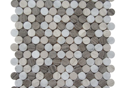 "Contemporary Blend 1""x1"" Mosaic Penny Round 12""x12"" INCMARBCNBL11MPR"