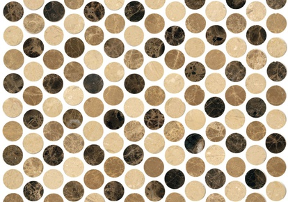 "Natural Blend 1""x1"" Mosaic Penny Round 12""x12"" INCMARBNABL11MPR"
