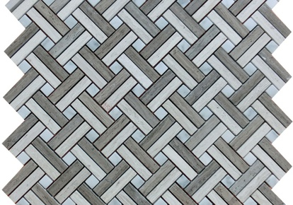 "Contemporary Blend Mosaic Lattice Basketweave 12""x12"" INCMARBCNBL12MLT"