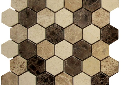 "Natural Blend 2""x2"" Mosaic Hexagon 12""x12"" INCMARBNABL22MHX"